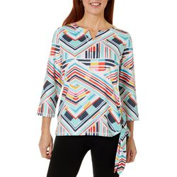 Onque Casual Petite Geo Print Side Tie Top