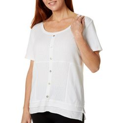 Onque Casual Petite Solid Faux Button Down Top