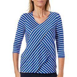 Thomas & Olivia Petite Asymmetrical Stripe Print V-Neck Top