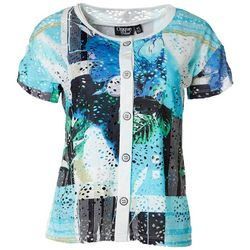 Onque Casual Womens Eyelet Floral Button Down Top