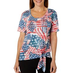 Onque Casual Petite Embellished American Flag Side Tie Top