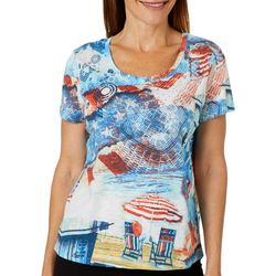 Onque Casual Petite Embellished Americana Beach Top