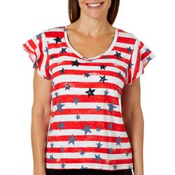 Onque Casual Petite Sequin Embellished Stars & Stripes Top