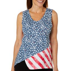 Onque Casual Petite Embellished Star American Flag Tank Top