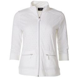 Onque Casual Petite Solid Textured Dot Jacket