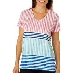 Onque Casual Petite Embellished Patriotic Stripe Top