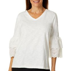 Onque Casual Petite Solid Eyelet Ruffle Sleeve Top