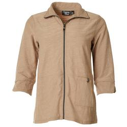 Petite Textured Turtleneck Jacket