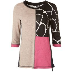 Onque Petite Zipper Embellished Colorblock Top
