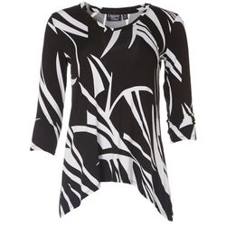 Onque Casual Womens Petite Mid Sleeve Printed Top