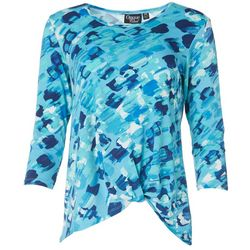 Onque Casual Womens Petite Mid Sleeve Ocean Top