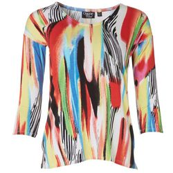 Onque Casual Womens Petite Mid Sleeve Abstract Print Top