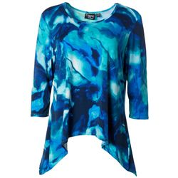 Onque Petite Abstract Printed Hi Lo Tunic Top