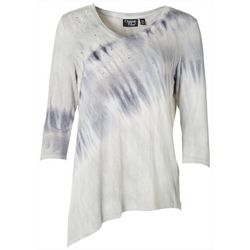 Onque Petite Studded Tie Dye V-Neck Top