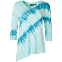 Onque Womens Studded Tie Dye V-Neck Top