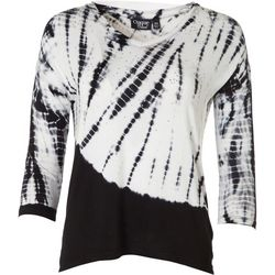 Onque Womens Petite Embellished Tie Dye V-Neck Top