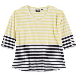 Onque Petite Colored Striped  Mid Sleeve Top