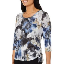 Onque Casual Petite Sketched Floral Embellished Top