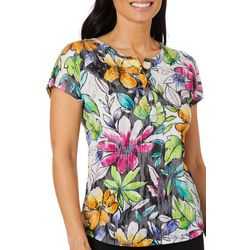 Thomas & Olivia Petite Tropical Floral Embellished Top