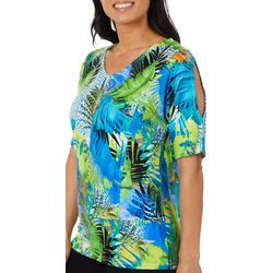 Thomas & Olivia Petite Jeweled Tropical Cold Shoulder Top