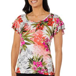 Thomas & Olivia Petite Tropical Floral Ruffle Sleeve Top
