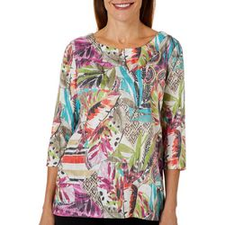 Onque Casual Petite Mixed Tropical Print Embellished Top