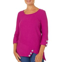 Onque Casual Petite Solid Textured Asymmetrical Button Top