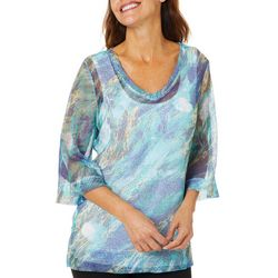 Onque Casual Petite Printed Bell Sleeve Mesh Tunic Top