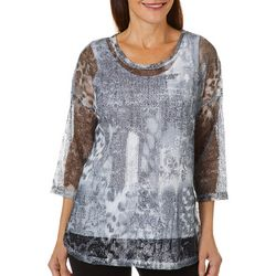Onque Casual Petite Printed Round Neck Mesh Tunic Top