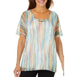 Onque Casual Petite Printed Stripe Mesh Tunic Top
