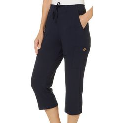 Onque Casual Petite Solid Cargo Pocket Capris