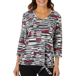 Onque Petite Mixed Geo Print Side Tie V-Neck Top