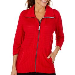 Onque Casual Petite Solid Textured Zip Up Jacket
