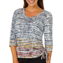 Onque Petite Embellished Mixed Stripe Top
