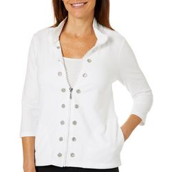 Onque Petite Embellished Grommet Solid Zip Up Jacket