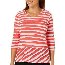 Onque Petite Mixed Stripe Button Shoulder Top