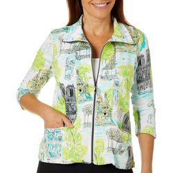 Onque Casual Petite Travel Print Zip Up Jacket