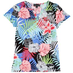 Onque Casual Petite Tropical Printed Short Sleeve Top