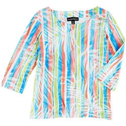 Onque Casual Petite Colorful Striped 3/4 Sleeve Top