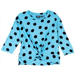 Onque Petite Polka Dot Print 3/4 Sleeve Top