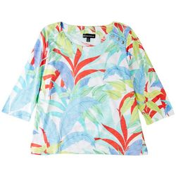 Onque Petite Tropical Printed 3/4 Sleeve Top