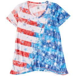 Onque Petite American Flag Short Sleeve Top