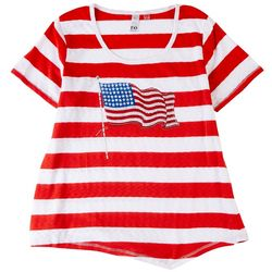 Onque Petite American Flag Screen Printed Short Sleeve Top