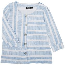 Onque Casual Womens Pocketed Faux Button Placket Top