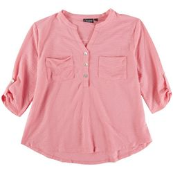 Onque Casual Petite 3/4 Sleeve Button Down Top
