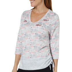 Onque Casual Petite Flamingo Sequin Embellished Top