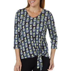 Onque Casual Petite Sequin Pineapple Tie Front Top
