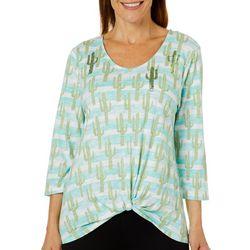 Onque Casual Petite Sequin Cactus Stripe Print Twist Top