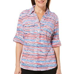 Cathy Daniels Petite Americana Striped Roll Tab Top