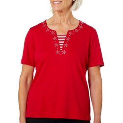 Cathy Daniels Petite Embellished Star Neck Short Sleeve Top